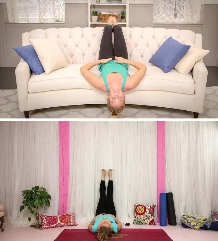 טיפים לשמירה על מראה צעיר: אישה שוכבת על ספה ועל הרצפה ומרימה רגליים מעל לגובה ראש