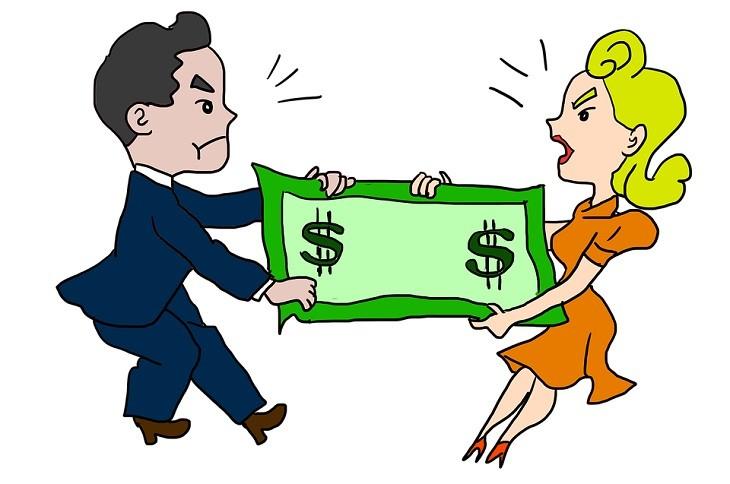 בעיות בנישואים: ציור של גבר ואישה מושכים שטר של דולר לכיוונים שונים