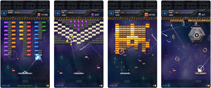 משחקים לטלפון הנייד: צילומי מסך מהמשחק Brick Breaker Star: Space King