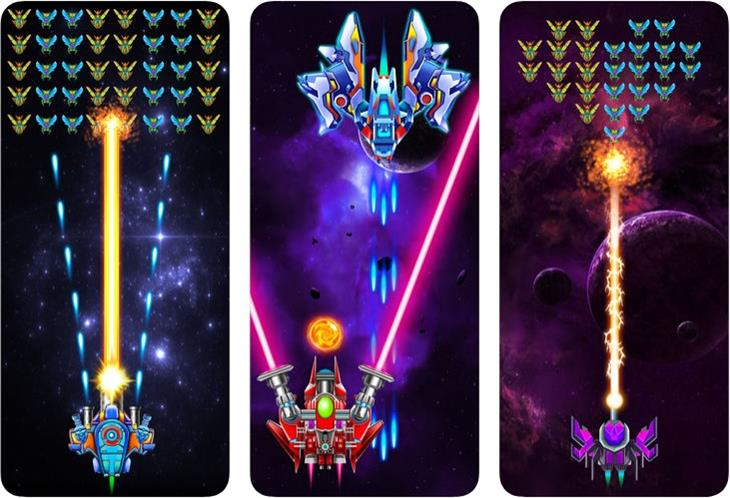 משחקים לטלפון הנייד: צילומי מסך של המשחק Galaxy Attack: Alien Shooter