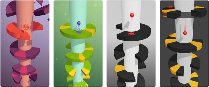 משחקים לטלפון הנייד: צילומי מסך של המשחק Helix Jump