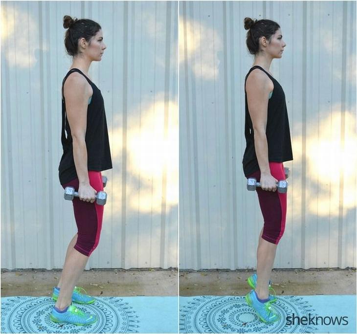 תרגילי כושר עם משקולות לחיזוק וחיטוב הגוף: עמידת בלרינה