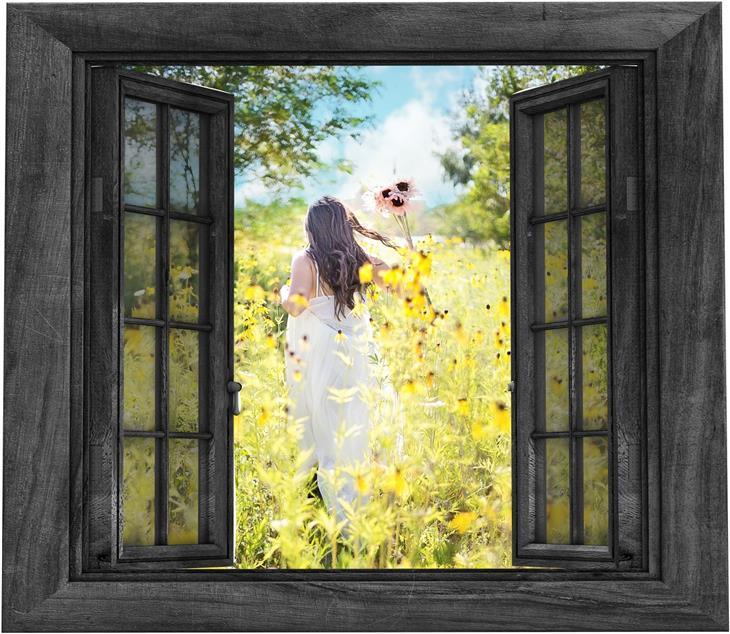 דברים שלמדתי על החיים אחרי מותו של בעלי: אישה בשדה פרחוני מבעד לחלון