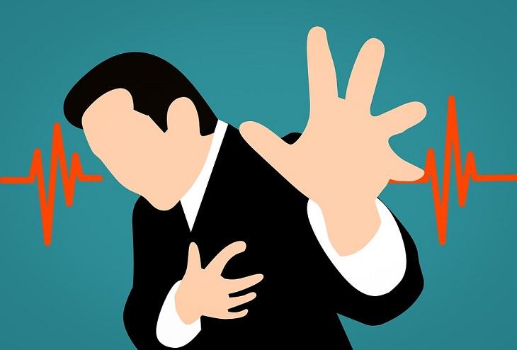 מחקר על הרמת משקולות ומחלות לב: ציור של אדם חווה התקף לב