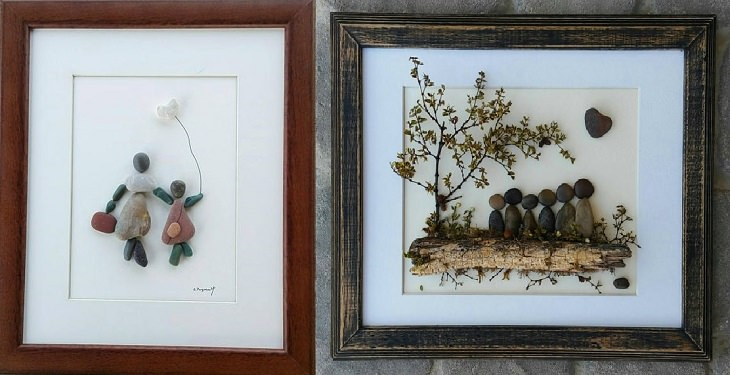יצירות ליום המשפחה: יצירת תמונת דמויות בני המשפחה באבנים וענפים