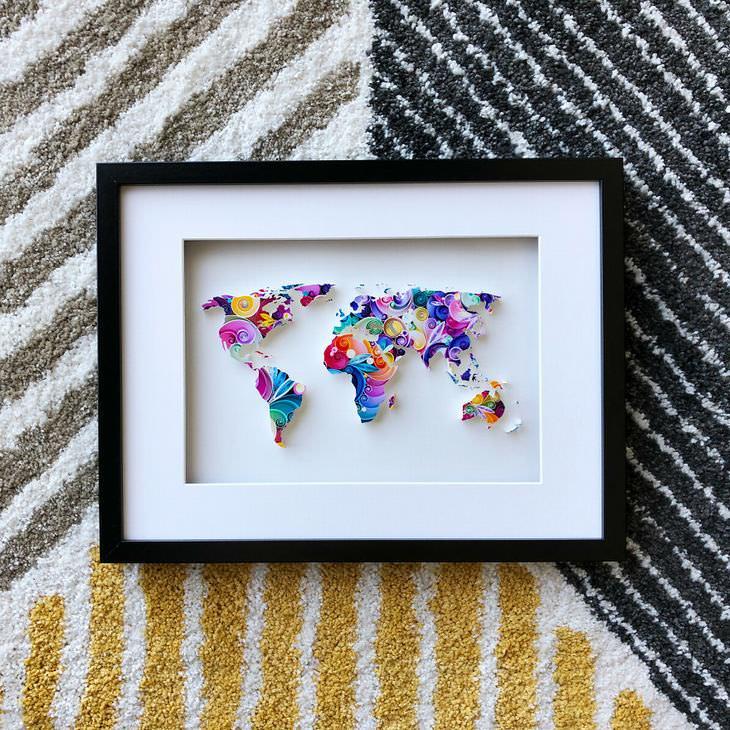 יצירות מנייר: מפת עולם