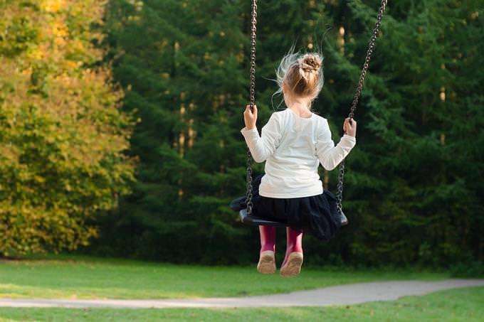 מבחן אישיות: ילדה יושבת על נדנדה בגינה