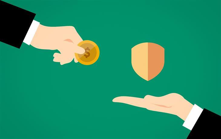 מדריך לשימוש בפייפאל: איור של יד מגישה מטבע ויד אחרת מציגה מגן