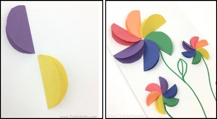 יצירות DIY:  פרח נייר תלת ממד בצבעי הקשת