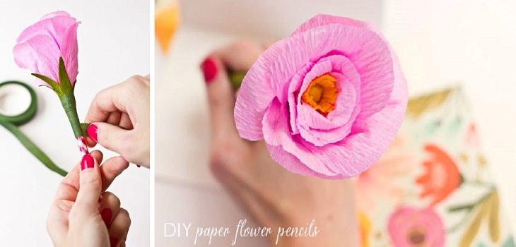 יצירות DIY: עפרון עם סיומת פרח מנייר קרפ