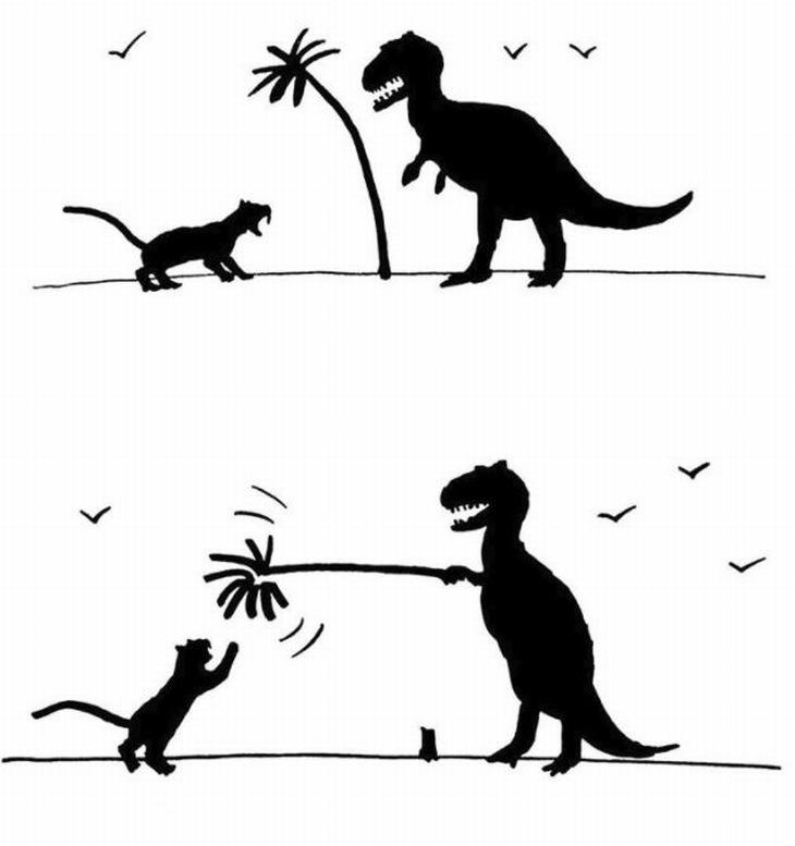 ציורים מינימליסטיים מקסימים: דינוזאור מנסה לשחק עם טיגריס בעזרת עץ דקל