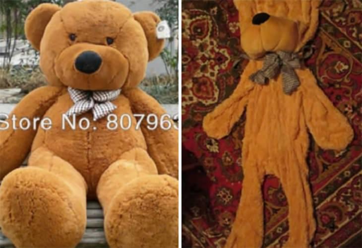 מוצרים מצחיקים שאנשים קיבלו לאחר הזמנה באינטרנט: בובת פרווה בצורת דובי ללא מילוי, לעומת התמונה המקורית