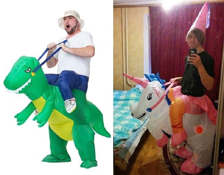 מוצרים מצחיקים שאנשים קיבלו לאחר הזמנה באינטרנט: תחפושת של רוכב על חיה מתנפחת - המקור לעומת מה שהתקבל בדואר