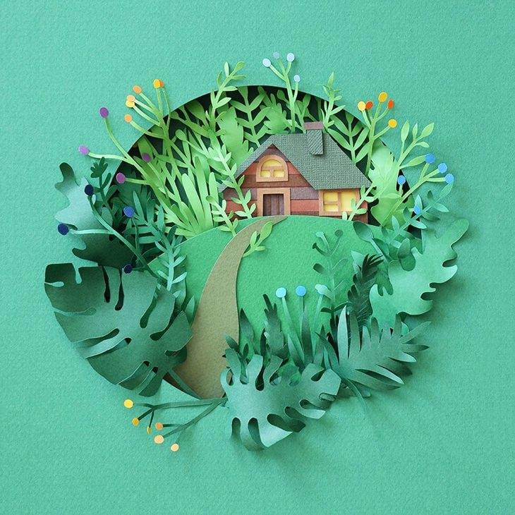 אומנות מגזרות נייר: בית מוקף צמחייה