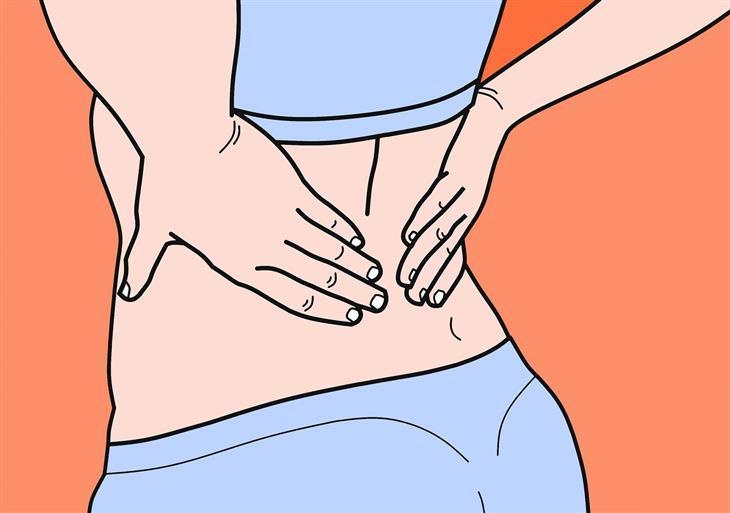שחרור נקודות טריגר: איור של אישה שמחזיקה בגבה התחתון עם ידיה