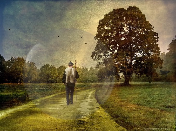 טיפים להתגברות על כישלון: ציור של אדם הולך בשדה לצד עץ
