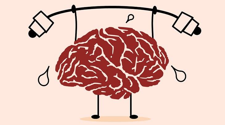 אפליקציות לחיזוק החשיבה: איור של מוח מרים משקולות