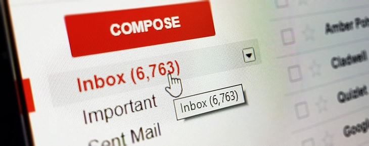 הגרסה החדשה של ג'ימייל: תיבת ג'ימייל שסמן העכבר מצביע על תיבת הדואר הנכנס