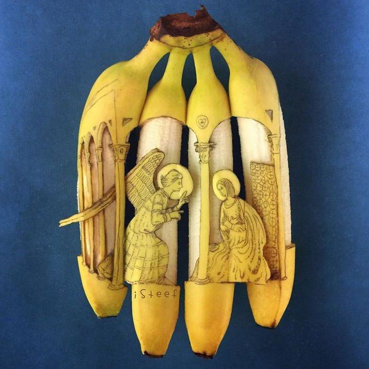 אומנות מבננות: ציור נוצרי עם בננות