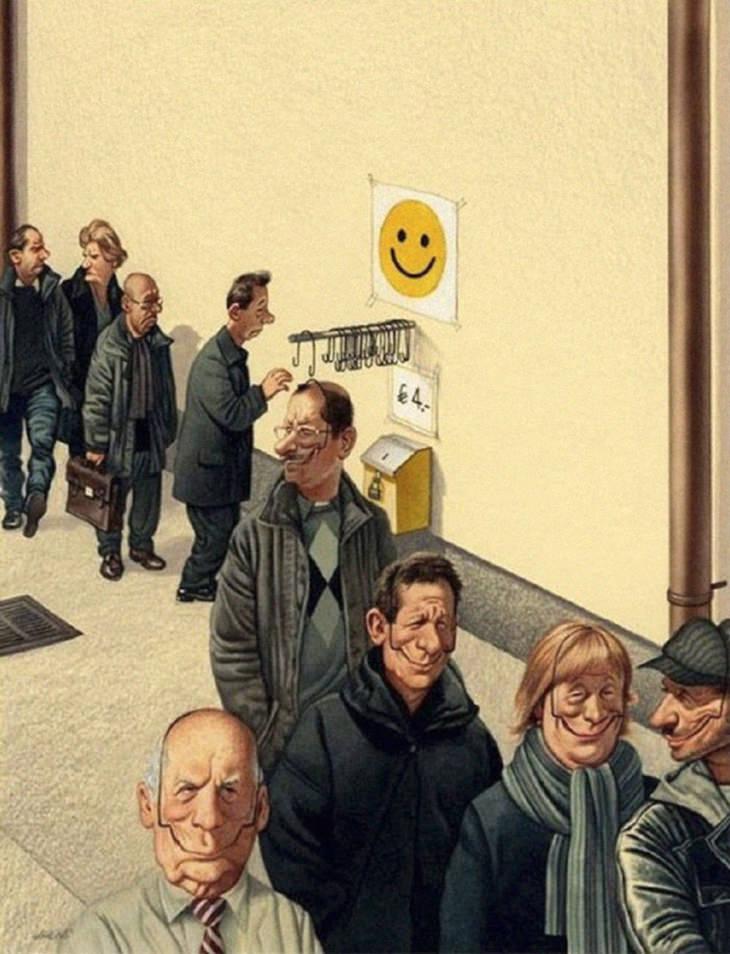 איורים שמציגים את האמת הקשה על העולם: אנשים עומדים בתור למתקן שעוזר לחייך