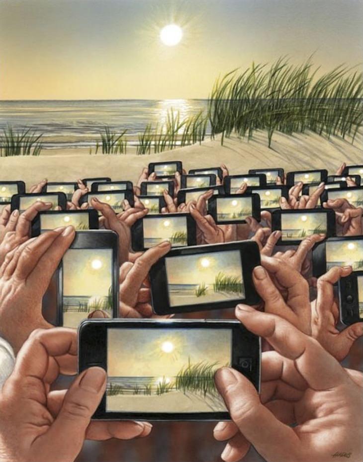 איורים שמציגים את האמת הקשה על העולם: עשרות אנשים מצלמים שקיעה בסמארטפונים שלהם, בצפיפות
