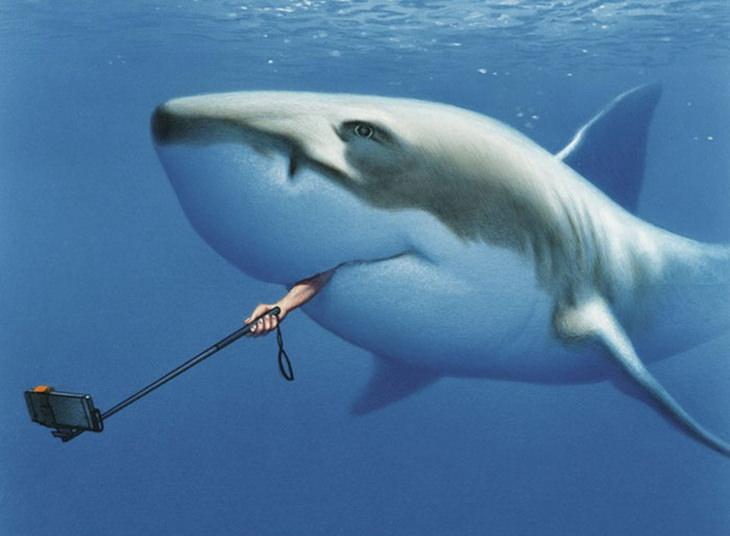 איורים שמציגים את האמת הקשה על העולם: יד יוצאת מתוך פה של כריש עם מקל סלפי
