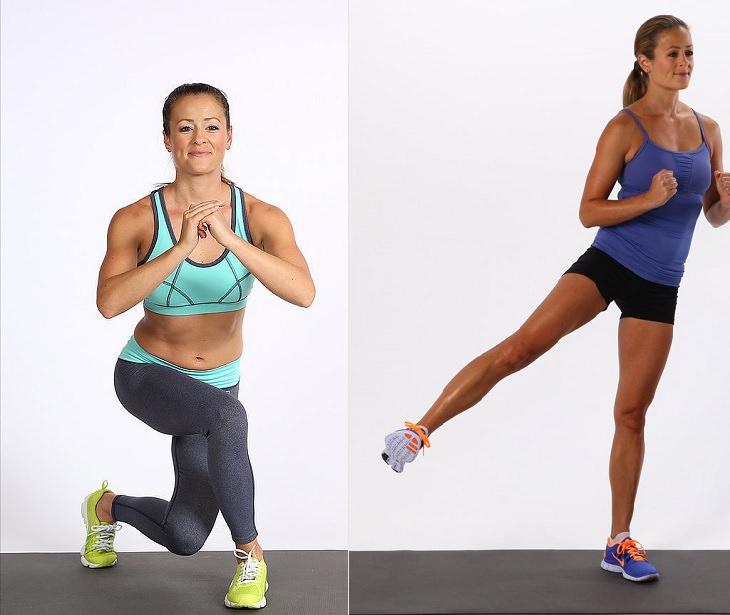 תרגילים לחיזוק הגב ושרירים אחוריים: אישה מבצעת את תרגיל הכריעה הקדמית עם הבעיטה הצידית