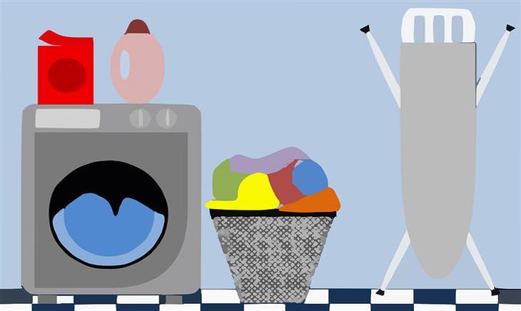 טיפים לכביסה: איור של מכונת כביסה, סל כיסה מלא בגדים וקרש גיהוץ