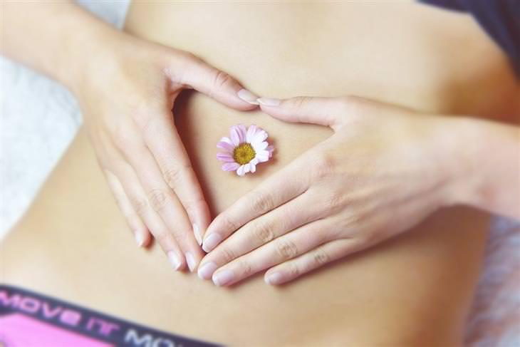 דיאטת פוד מאפ: בטן של אישה עם פרח עליה