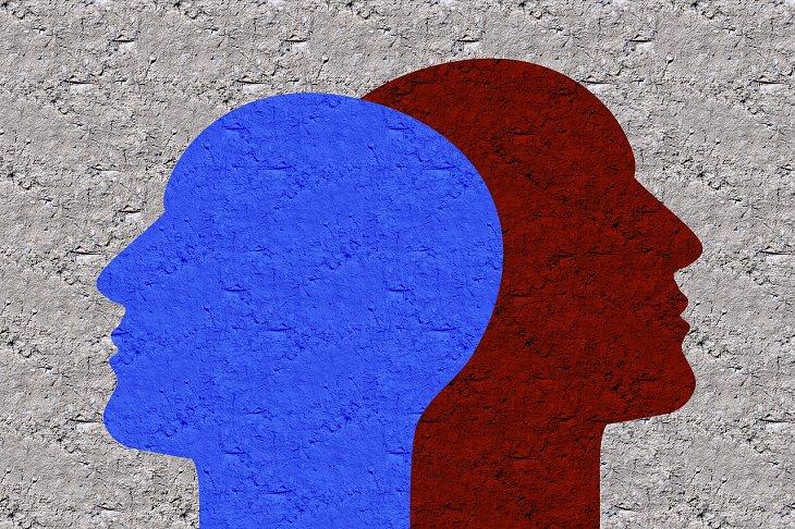 מדיטציה סאבלימינלית - צלליות פנים בשני צבעים שונים