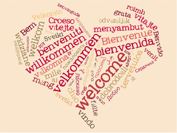 5 שפות האהבה: לב המורכב ממילים בשפות שונות