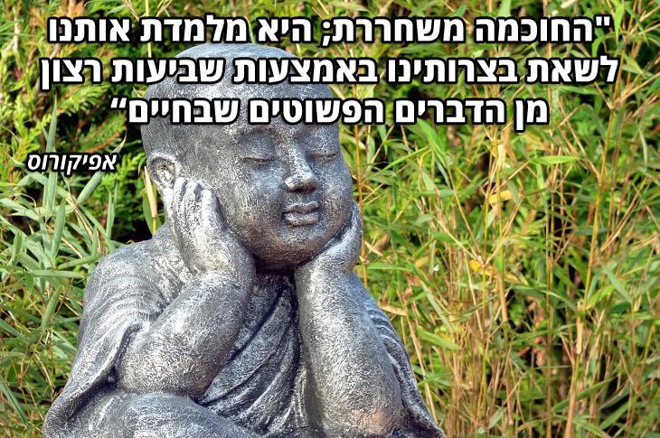 """ציטוטי פילוסופים יוונים: """"החוכמה משחררת; היא מלמדת אותנו לשאת בצרותינו באמצעות שביעות רצון מן הדברים הפשוטים שבחיים"""" – אפיקורוס"""