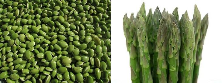 פחמימות מורכבות: אספרגוס ושעועית ירוקה