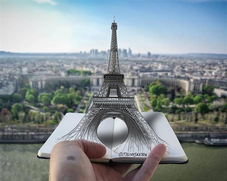 ציורי תלת ממד: מגדל אייפל על רקע גני טרוקדרו, פריז