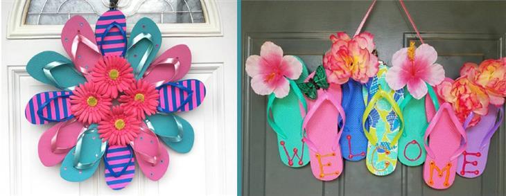 דברים שאפשר להכין מנעליים ישנות: שלט כניסה לבית מכפכפים ישנים