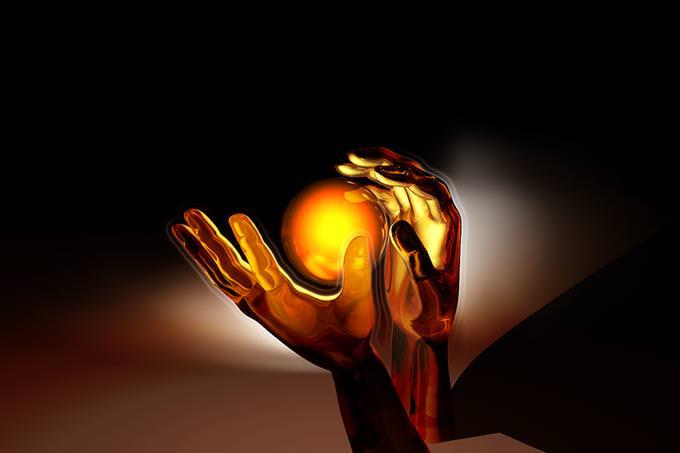 מבחן אסוציאציות: איור של כדור אור בין שתי ידיים