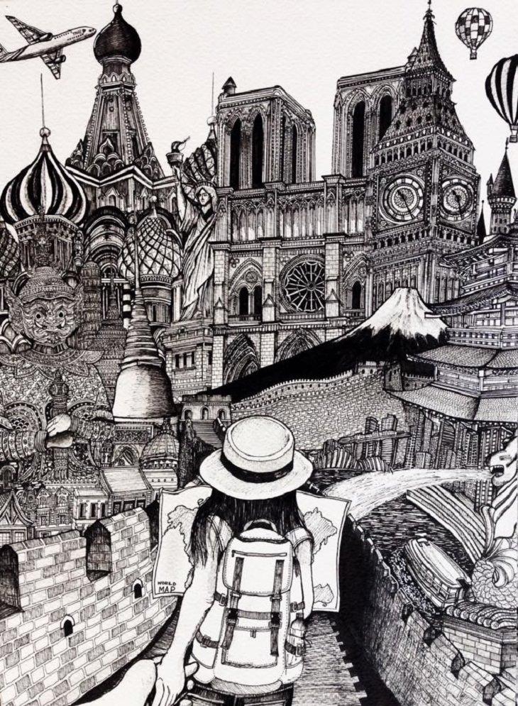 ציורים מפורטים בשחור לבן