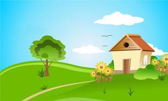 בחן את עצמך: בית בשטח כפרי ושמיים כחולים עם עננים