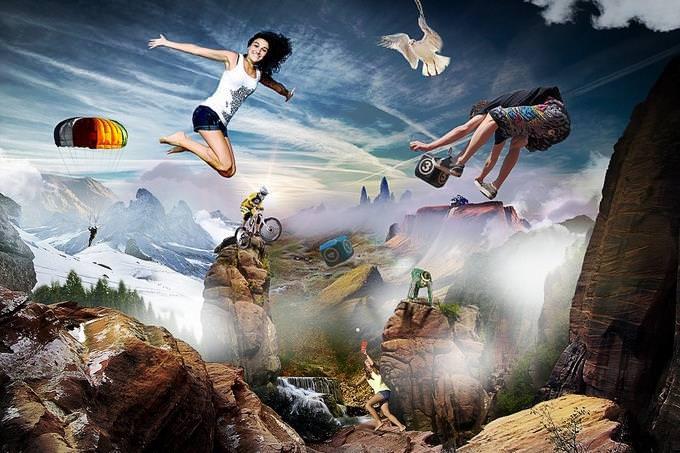 בחן את עצמך: דמויות מרחפות על רקע הרים ושמים