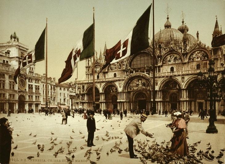 תמונות היסטוריות:כיכר סן מרקו בוונציה בשנת 1890