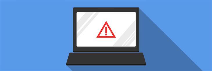 איך לזהות וירוסים במחשב ולהימנע מהם: איור של מחשב נייד עם סימן קריאה במסך