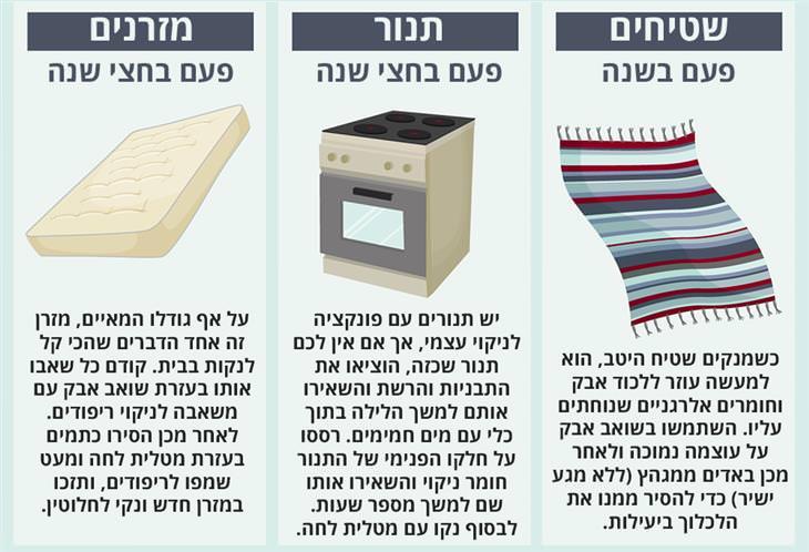 כל כמה זמן מנקים את זה: שטיחים, תנור ומזרנים