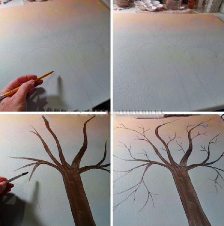 8 יצירות מכפתורים: ציור של עץ על בד קנבס