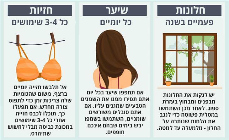 כל כמה זמן מנקים את זה: חלונות, שיער וחזיות
