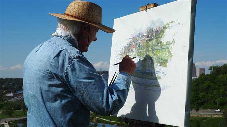 דברים שצריך לזכור בנוגע לדרך הקשה אל האושר: איש מבוגר מצייר על קנבס