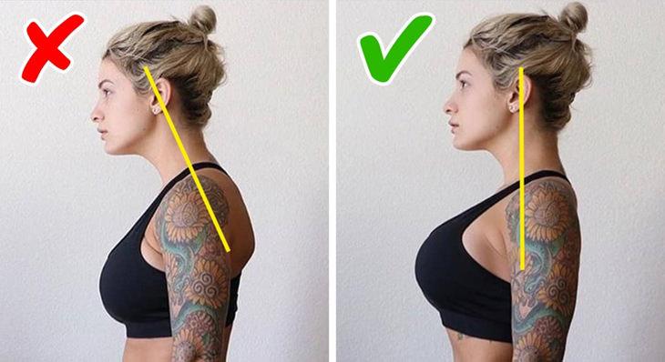 איך להיפטר מעקשת יציבתית: הדגמה של אישה עם גב שפוף וגב ישר