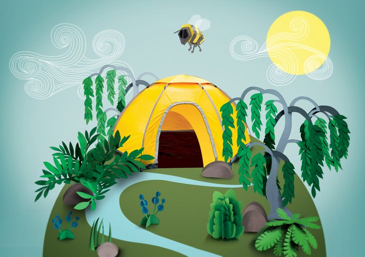 פיסול בנייר: אוהל בלילה ביום