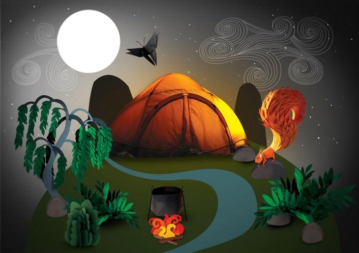 פיסול בנייר: אוהל בלילה בטבע