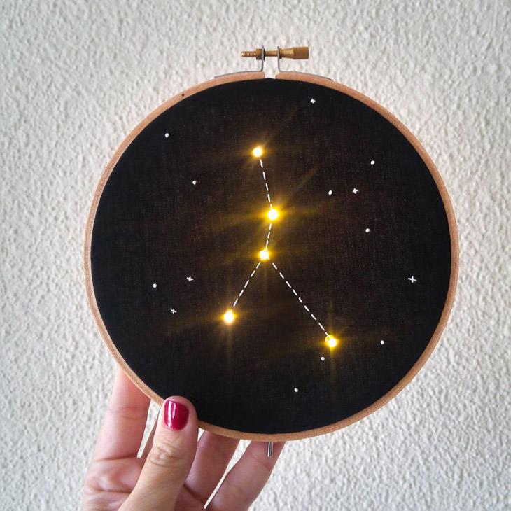 יצירות תחרה מוארות של ג'יובאנה מרקון: מערכת כוכבים רקומה בתחרה