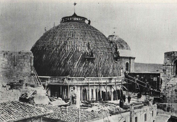 ירושלים ההיסטורית: עבודות השיפוץ והשחזור של גג כנסיית הקבר